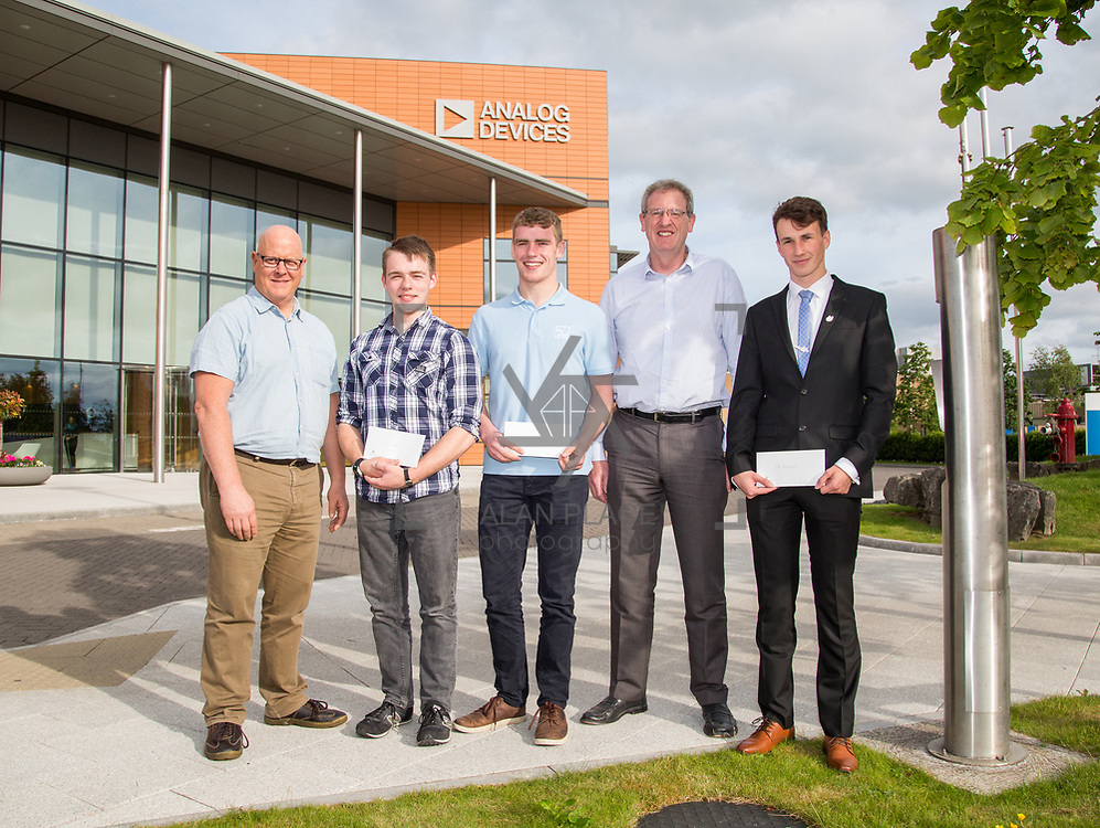 31.05.2017      <br /> University of Limerick Analog Devices Robbie McAdam Awards.<br /> Robbie McAdam Award recipients, Oisin Watkins, 2nd year, Gearoid Moore, Final Year and Robbie McAdam medal recipient and Cian McNamara, 3rd year with Mike Keaveney, ADI Fellow Analog Devices and Dr. John Nelson, Head of The Electronic &amp; Computer Engineering (E&amp;CE) Department,UL. Picture: Alan Place.