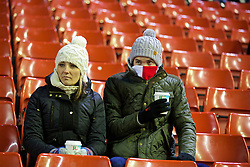 LIVERPOOL, ENGLAND - Wednesday, January 20, 2016: Liverpool's supporters wrap up from the cold weather before the FA Cup 3rd Round Replay match against Exeter City at Anfield. (Pic by David Rawcliffe/Propaganda)