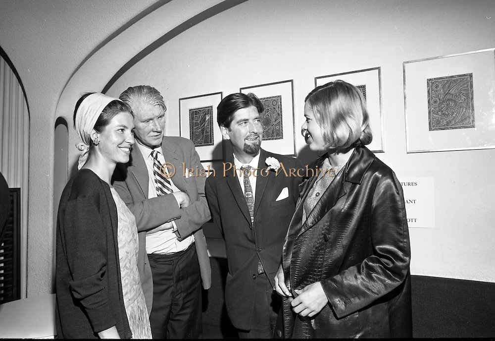 26/07/1967<br /> 07/26/1967<br /> 26 July 1967<br /> Opening of exhibition of paintings by Asgeir Scott at Brown Thomas, Grafton Street, Dublin. London born Scott, designer, illustrator, commercial artist and fashion artist came to Ireland in 1965. Here he devoted himself to a contemporary approach to the visual arts and produced a series of pictures. This collection was displayed in the Social and Personal Restaurant, Brown Thomas Ltd., Grafton Street and the opening was performed by Mr. Ulick O'Connor. Pictured at the opening were (l-r): Mlle. Francoise Cony, (Cognac, France); Mr. John Raymond, Dublin; Mr. Asgeir Scott and Frauline Dagmar Strong (Munich, Germany).