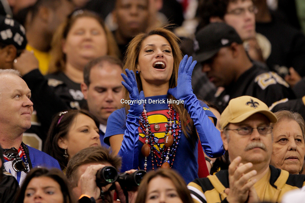 2009 October 18: New York Giants fan Reby Sky of New York cheers from the stands during a regular season game between the New Orleans Saints and the New York Giants at the Louisiana Superdome in New Orleans, Louisiana.