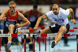 08.03.2014, Ergo Arena, Sopot, POL, IAAF, Leichtathletik Indoor WM, Sopot 2014, im Bild 60 m plotki, hurdles, Gregor Traber (GER), Garfield Darien (FRA) // 60 m plotki, hurdles, Gregor Traber (GER), Garfield Darien (FRA)  during day two of IAAF World Indoor Championships Sopot 2014 at the Ergo Arena in Sopot, Poland on 2014/03/08. EXPA Pictures © 2014, PhotoCredit: EXPA/ Newspix/ Tomasz Jastrzebowski<br /> <br /> *****ATTENTION - for AUT, SLO, CRO, SRB, BIH, MAZ, TUR, SUI, SWE only*****