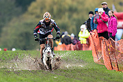 Male 1 dog bikejor competitor during the WSA Dryland World Championship 2019 at Firle Country Estate in the South Downs National Park, Lewes, Sussex, United Kingdom on 16 November 2019.