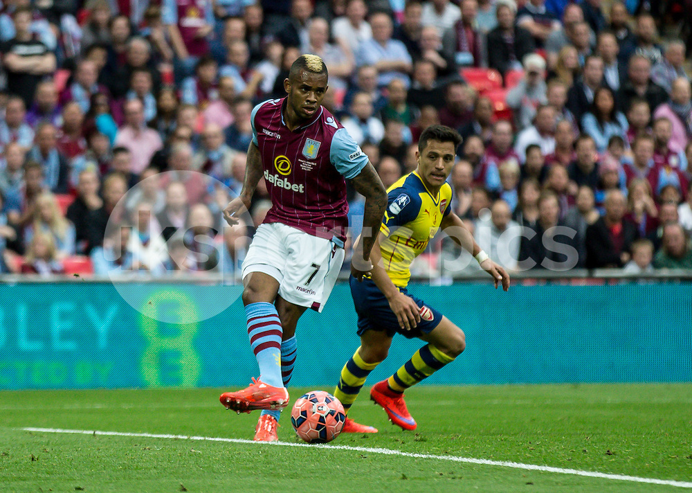 Leandro Bacuna of Aston Villa during the The FA Cup Final match between Arsenal and Aston Villa at Wembley Stadium, London, England on 30 May 2015. Photo by Liam McAvoy.