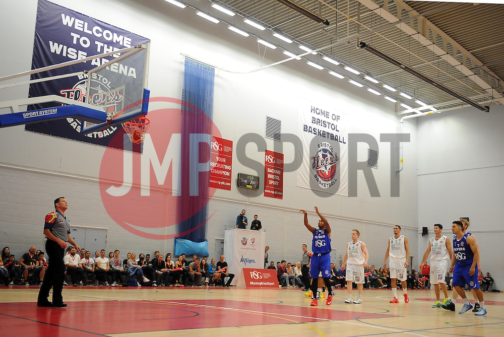 Bristol Academy Flyers' Doug Herring scores a basket  - Photo mandatory by-line: Joe Meredith/JMP - Mobile: 07966 386802 - 27/09/2014 - SPORT - Basketball - Bristol - SGS Wise Campus - Bristol Academy Flyers v Plymouth Uni Raiders - British Basketball League