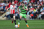 Forest Green Rovers Christian Doidge(9) on the ball during the EFL Sky Bet League 2 match between Cheltenham Town and Forest Green Rovers at LCI Rail Stadium, Cheltenham, England on 14 April 2018. Picture by Shane Healey.