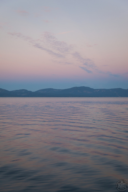 """Sunrise at Lake Tahoe 15"" - Photograph of Lake Tahoe at sunrise, photographed from a fishing boat on the East shore, near Cave Rock."
