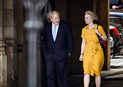 © Licensed to London News Pictures. 20/06/2019. London, UK. Leadership candidate BORIS JOHNSON MP is seen with Chief Secretary to the Treasury LIZ TRUSS MP at the Houses of Parliament, the morning after surviving the latest round of voting in the conservative leadership race. . Further candidates are expected to drop out of the race to be the next Prime Minister over the next two days, leaving two, in a series of votes held by Conservative MPs at Parliament. Photo credit: Ben Cawthra/LNP