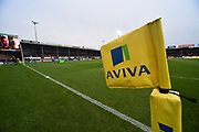 Aviva banding on the flags before the Aviva Premiership match between Exeter Chiefs and Harlequins at Sandy Park, Exeter, United Kingdom on 19 November 2017. Photo by Graham Hunt.