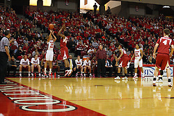 27 March 2011: Katie Broadway shoots from the corner during a WNIT (Women's National Invitational Tournament Women's basketball sweet 16 game between the Arkansas Razorbacks and the Illinois State Redbirds at Redbird Arena in Normal Illinois.