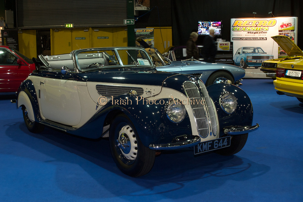 RIAC Classic Car Show 2013, RDS, BMW, 328, FRAZER, NASH_KMF 644. The BMW 328 Roadster was produced by BMW from 1936 through to 1940. It's a true museum piece. Irish, Photo, Archive.
