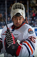KELOWNA, CANADA - SEPTEMBER 22: Kyle Dumba #35 of the Kamloops Blazers stands at the bench during warm up against the Kelowna Rockets on September 22, 2017 at Prospera Place in Kelowna, British Columbia, Canada.  (Photo by Marissa Baecker/Shoot the Breeze)  *** Local Caption ***