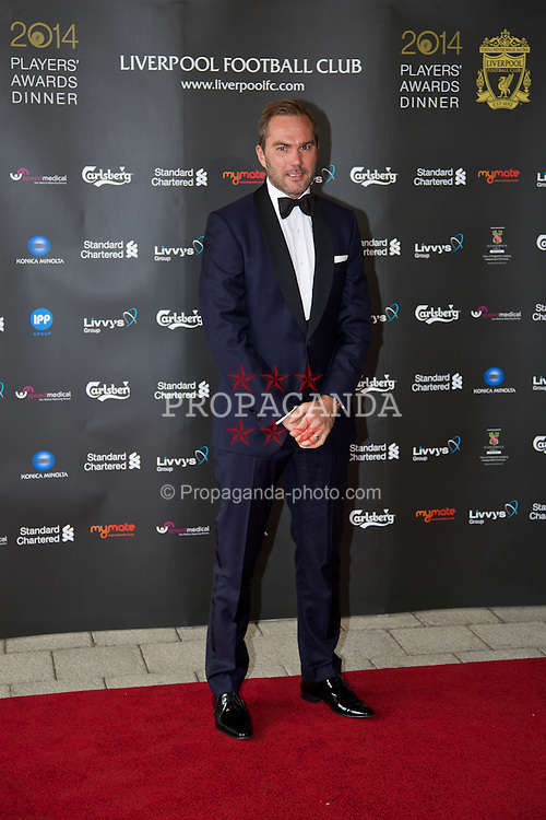 LIVERPOOL, ENGLAND - Tuesday, May 6, 2014: Former Liverpool player Jason McAteer on the red carpet for the Liverpool FC Players' Awards Dinner 2014 at the Liverpool Arena. (Pic by David Rawcliffe/Propaganda)