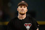 PHOENIX, AZ - AUGUST 10:  Brandon Drury #27 of the Arizona Diamondbacks warms up during batting practice for the MLB game against the Los Angeles Dodgers at Chase Field on August 10, 2017 in Phoenix, Arizona.  (Photo by Jennifer Stewart/Getty Images)
