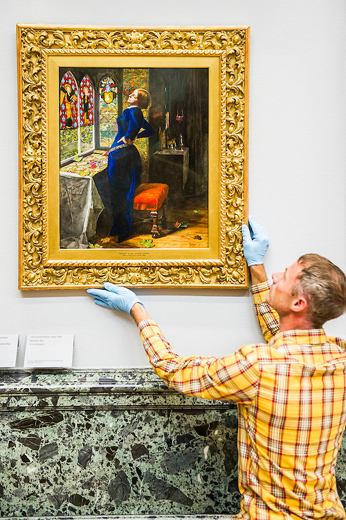 The return and re-hanging of the nation&rsquo;s Pre-Raphaelite works, including Millais&rsquo; Ophelia, to Tate Britain. They are going back on display from Thursday 7 August 2014 after being seen by over 1.1 million people worldwide. They include: John Everett Millais&rsquo; , Ophelia; Beata Beatrix by Dante Gabriel Rossetti; The Lady of Shalott by John William Waterhouse; The Beloved by Rossetti; and Mariana (pictured centre)  by John Everett Millais. These works are being displayed in the 'grand' surroundings of the 1840 galleries as part of the BP Walk through British Art. <br /> Millbank,  London, UK.
