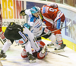 07.10.2012, Stadthalle, Klagenfurt, AUT, EBEL, EC KAC vs EHC Black Wings, 10. Runde, im Bild Marc-Andre Darion (EHC Black Wings, #10), Tylor Scofield (Kac, #10), Tylor Spurgeon (Kac, #9), Franklin MacDonald (EHC Black Wings, #5) // during the Erste Bank Icehockey League 10th Round match betweeen EC KAC and EHC Black Wings at the City Hall, Klagenfurt, Austria on 2012/10/07. EXPA Pictures © 2012, PhotoCredit: EXPA/ Mag. Gert Steinthaler