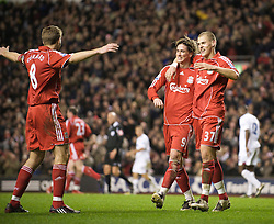 LIVERPOOL, ENGLAND - Wednesday, March 5, 2008: Liverpool's Fernando Torres celebrates scoring his, and Liverpool's second goal with team-mates captain Steven Gerrard MBE and Martin Skrtel during the Premiership match against West Ham United at Anfield. (Photo by David Rawcliffe/Propaganda)