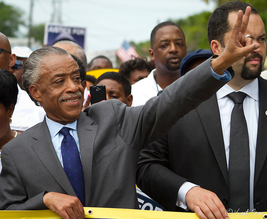 March 31, 2012 - Sanford, Florida, U.S. - Reverend AL SHARPTON waves a peace sign in the streets of Sanford, Florida for the justice of Treyvon Martin.