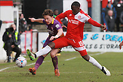 Jack Munns and Nortel Nortey during the Vanarama National League match between Welling United and Cheltenham Town at Park View Road, Welling, United Kingdom on 5 March 2016. Photo by Antony Thompson.
