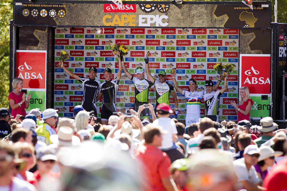 LOURENSFORD - stage podium (L to R) Philip Buys & Mathys Beukes (2nd), Rudi Van Houts & Jose Hermida of Multivan Merida (1st), Nino Schurter & Florian Vogel of Scott-Swisspower (3rd) during the final stage (stage 7) of the 2013 Absa Cape Epic Mountain Bike stage race from Stellenbosch to Lourensford Wine Estate in Somerset West, South Africa on the 24 March 2013..Photo by Gary Perkin/Cape Epic/SPORTZPICS