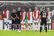 20-10-2016: Voetbal: Feyenoord v Zarja Loegansk: Rotterdam<br /> <br /> (L-R) Free kick during Europa League match between Feyenoord and Zorja Luhansk on 20 oktober 2016 at Stadion Feijenoord (de Kuip), Rotterdam, Zuid-Holland<br /> <br /> Europa League - Season 2016 / 2017<br /> <br /> Photo: Gertjan Kooij