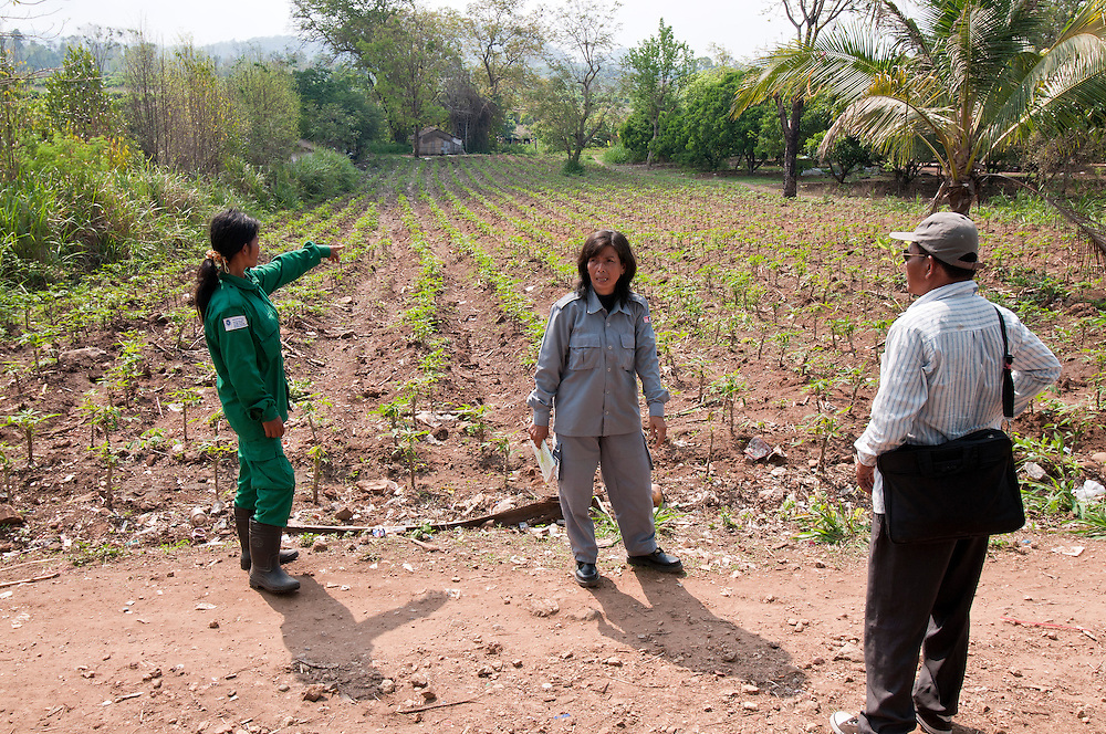 """Sokhon with a co worker and village leader survey an area she helped clear of landmine at O'Chheukrom village...On August 21, 2006, Sokhon and her team started demining O'Chheukrom village. """"One of the areas we cleared was where I used to go to collect water with my daughter every day. We found mines everywhere. That was scary"""", says Sokhon.   By April 5, 2007 the village was finally free of land mines.  69,379 square meters of land was rendered safe.  Sokhon's MAG team found 405 mines, 64 bombs (unexploded ordnance) and 164,213 pieces of fragmentation.  Villagers started farming the area without fear, bringing a sense of relief and prosperity to the community."""