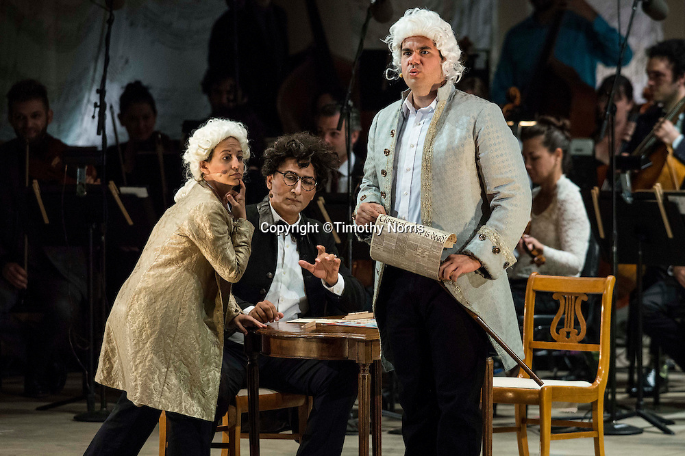 "Jennifer Zetlan (soprano) as ""Mozart"", Ashraf Sewailam (bass-baritone) as ""Beethoven"" and Dominic Armstrong (tenor) as ""Haydn"" in the world premiere of Steven Stucky and Jeremy Denk's The Classical Style: An Opera (of Sorts) at the 68th Ojai Music Festival at Libbey Bowl on June 13, 2014 in Ojai, California."