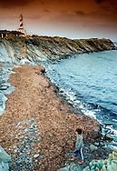 Favaritx lighthouse in Favaritx Cape.<br /> S'Albufera des Grau Natural Park.<br /> Minorca, Balearic Islands, Spain, Europe