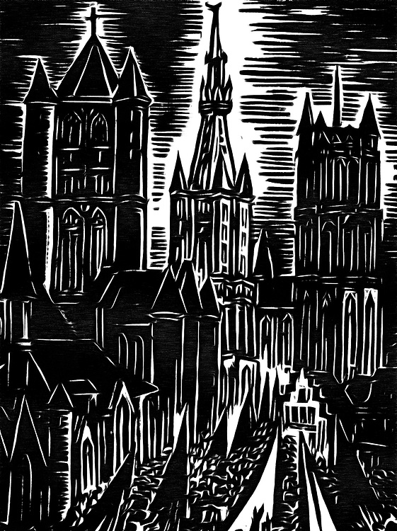 A black / white drawing of a cathedral in Belgium