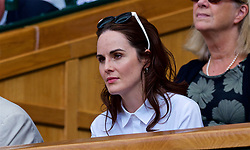 LONDON, ENGLAND - Tuesday, July 10, 2018: Actress Michelle Dockery watches from the Royal Box during the Ladies' Singles Quarter-Final match on day eight of the Wimbledon Lawn Tennis Championships at the All England Lawn Tennis and Croquet Club. (Pic by Kirsten Holst/Propaganda)