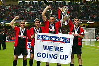 (THE 4 GOALSCORERS) GARETH O'CONNOR (LEFT) STEPHEN PURCHES/GARETH O'CONNOR (CENTRE) AND CARL FLETCHER (CAPT) BOURNEMOUTH TEAM CELEBRATE WITH THE CUP<br />
