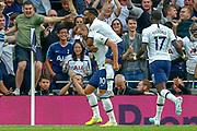 GOAL 2-1 Tottenham Hotspur forward Harry Kane (10) scores and celebrates during the Premier League match between Tottenham Hotspur and Aston Villa at Tottenham Hotspur Stadium, London, United Kingdom on 10 August 2019.