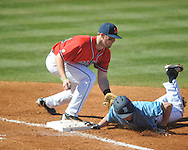 Ole Miss first baseman Will Allen (30) vs. Rhode Island at Oxford-University Stadium in Oxford, Miss. on Sunday, February 24, 2013. Ole Miss won 5-3 to improve to 7-0.