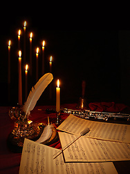 hand written, unpublished music manuscript, oboe, quill pen, conductor's baton by candle light