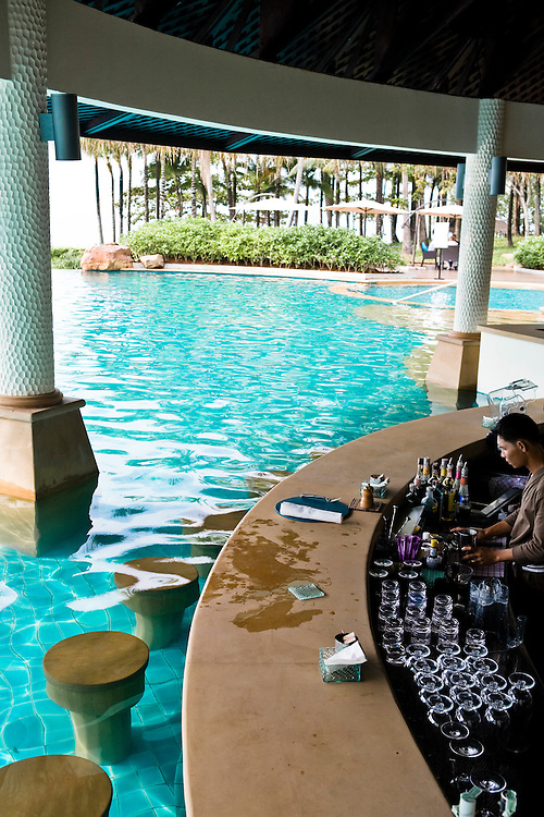 Swim up bar at the public pool.