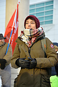 Behdahbuhn Logan speaks to a crowd assembled for a Colten Boushie prayer rally in front of the Windsor Courthouse in downtown Windsor, Ontario, Canada. She is speaking as a youth representative.