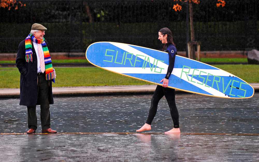 Surfers Against Sewage (SAS) are calling for the Scottish Government to help protect Scottish waves and include Surfing Reserves in the Marine Bill. Surf Reserves would be a dedicated area that is protected for use by the general public and surfing community.  Pictured MSP Robin Harper and Ruth Curuthers from Surfers Against Sewage outside the Scottish Parliament.