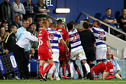 A brawl between the Queens Park Rangers and Swindon Town players erupts - Mandatory by-line: Robbie Stephenson/JMP - 10/08/2016 - FOOTBALL - Loftus Road - London, England - Queens Park Rangers v Swindon Town - EFL League Cup
