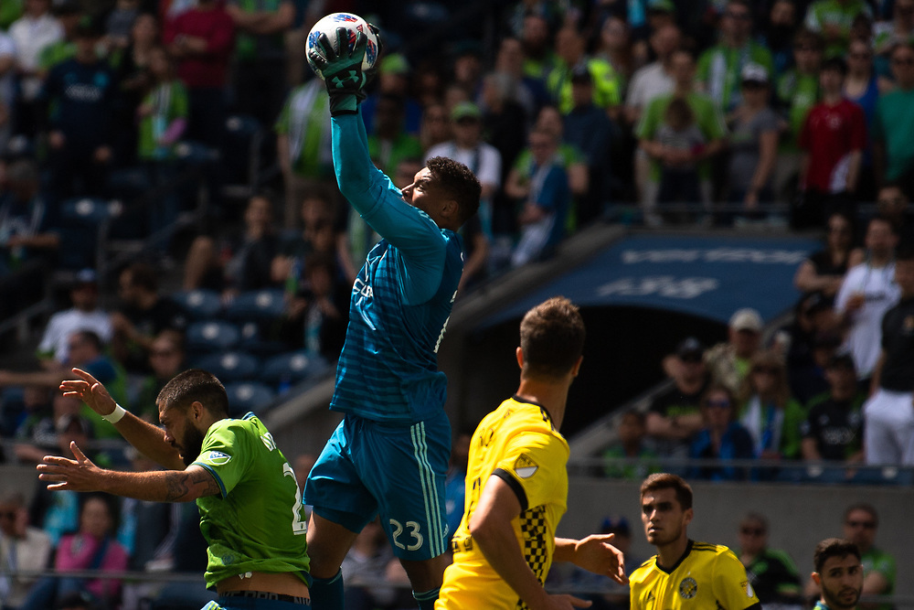 May 05, 2018; Seattle, Washington, US;  Columbus Crew goalkeeper Zack Steffen (23) makes another save during in action between the Seattle Sounders FC and Columbus Crew at Century Link Field. Photo credit: Rick May - Rick May Photography