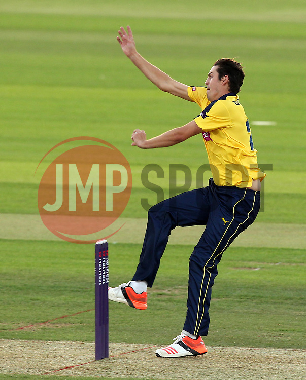 Hampshire's Chris Wood bowls - Photo mandatory by-line: Robbie Stephenson/JMP - Mobile: 07966 386802 - 19/06/2015 - SPORT - Cricket - Southampton - The Ageas Bowl - Hampshire v Sussex - Natwest T20 Blast