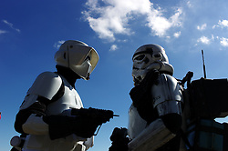 © Licensed to London News Pictures. 10/04/2016. Scarborough, UK.  People in Storm Trooper, Star Wars dress costume take part in Scarborough Sci-fi Convention held this weekend at the Spa building, South Bay, Scarborough.  Photo credit: Ian Forsyth/LNP