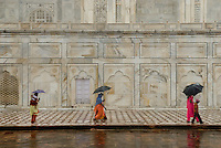 The Taj Mahal on a rainy day, Agra, India.