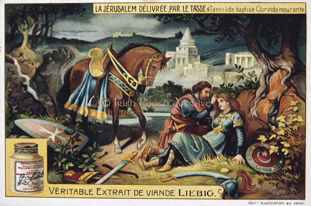 Jerusalem Delivered' (1580) epic poem by Torquato Tasso, Italian poet. Fictionalised story of First Crusade 1095-1099. Tancredi, Christian knight, baptises the dying Muslim warrior maiden Clorinda he loves. Liebig Trade Card c1900.