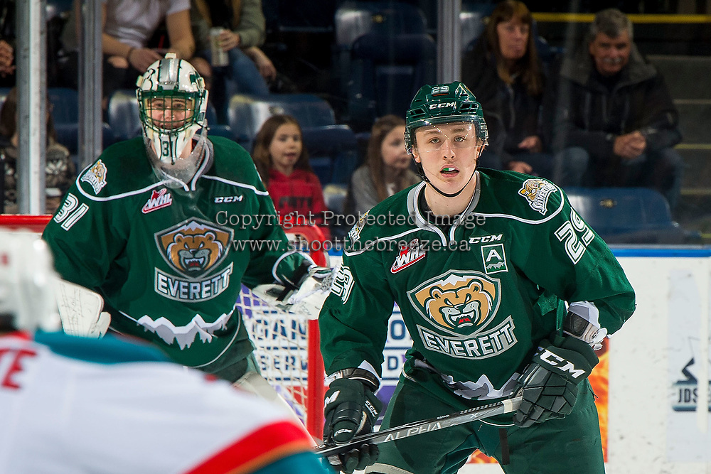 KELOWNA, BC - FEBRUARY 15:  Wyatte Wylie #29 of the Everett Silvertips skates against the Kelowna Rockets at Prospera Place on February 15, 2019 in Kelowna, Canada. (Photo by Marissa Baecker/Getty Images)