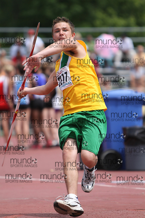 (London, Ontario}---05 June 2010) \2277\ the midget boys javelin at the 2010 OFSAA Ontario High School Track and Field Championships in London, Ontario, June 05, 2010 . Photograph copyright dave chidley / Mundo Sport Images, 2010.