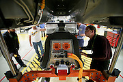 A battery is raised into a pre-production Chevrolet Volt at GM's Pre-Production Operations facility in Warren, MI, August 56, 2009. Executives and engineers from the Volt's Hamtramck assembly plant were also there learning about production requirements specific to the range-extended plug-in. (Jeffrey Sauger)