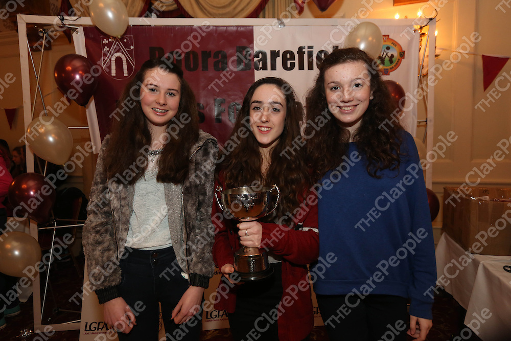 Eanna O Loughlin, Enya Feerick and Katie Brogan pictured at the DooraB for the Ladies Football Medal Presentation at the Old Ground Hotel on Saturday.<br /> Pic. Brian Arthur/ Press 22.