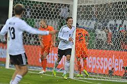 15.11.2011, Imtech Arena, Hamburg, GER, FSP, Deutschland (GER) vs Holland (NED), im Bild Mesut Oezil (Özil GER #08) schiesst das 3-0 und jubelt mit Thomas Mueller (Müller GER #13) // during the Match Gemany (GER) vs Netherland (NED) on 2011/11/15,  Imtech Arena, Hamburg, Germany. EXPA Pictures © 2011, PhotoCredit: EXPA/ nph/ Witke..***** ATTENTION - OUT OF GER, CRO *****
