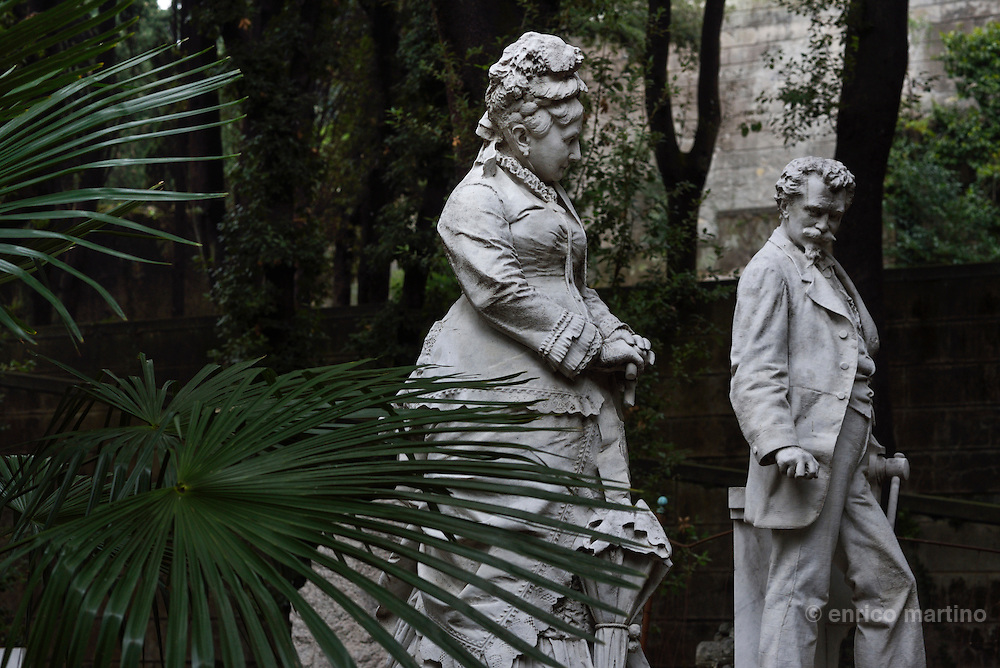 Genoa.  The Cimitero monumentale di Staglieno is famous for its monumental sculpture. Ms Bentley of the Tomba Whitehead and Bentley by Luigi Orengo 1885. Covering an area of more than a square kilometre, it is one of the largest cemeteries in Europe.