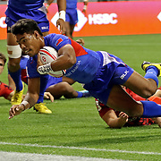 "Murphy ""Love You Mom"" Paulo, scored Manu Samoa's last try in thier solid victory over Wales, 28-10 on the first day of the Canada 7's at the BC Place, Vancouver, BC, Canada.  Photo by Barry Markowitz 3/10/18"