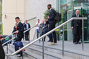 Joel Castro Pereira Goalkeeper of Manchester United and Paul Pogba Midfielder of Manchester United depart the Lowry hotel before the Manchester United vs Celta Vigo match  at Old Trafford, Manchester, United Kingdom on 11 May 2017. Photo by Phil Duncan.